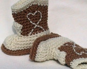 Crocheted Baby Booties Cowboy Style warm brown and aran choose a size