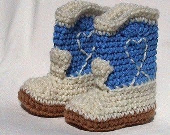 Blue Booties Crocheted Baby Booties Cowboy Boots choose a size