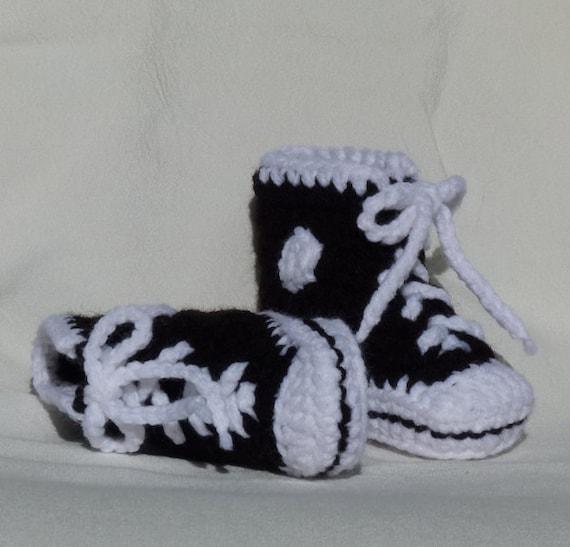 Crochet Baby Booties Sneaker Black and White High Top Sneaker