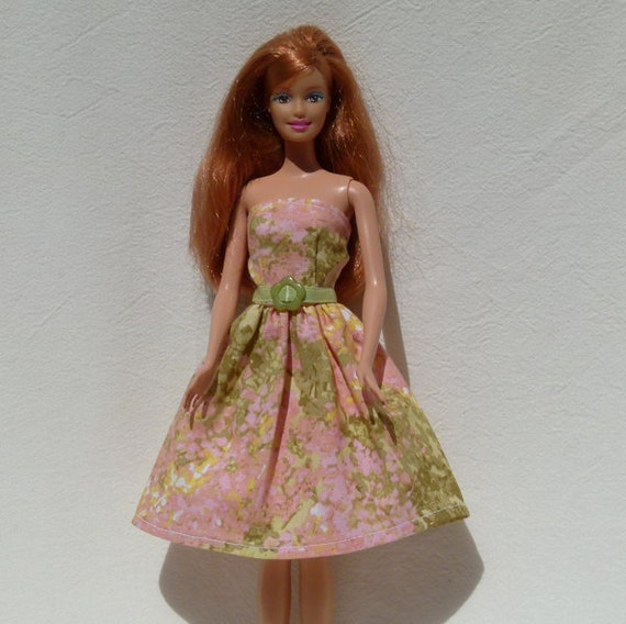 Barbie Doll Dress Handmade with ribbon belt and buckle ready to mail