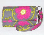 Fuchsia Pink Blooms on Gray LITTLE TECH Cell Phone Wristlet Wallet iPhone Case for Smart Phones