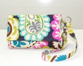 Cell Phone Wallet Wristlet / Pretty Gray Paisley with Turquoise and Pink / iPhone 4 - Droid - Incredible - Blackberry and More
