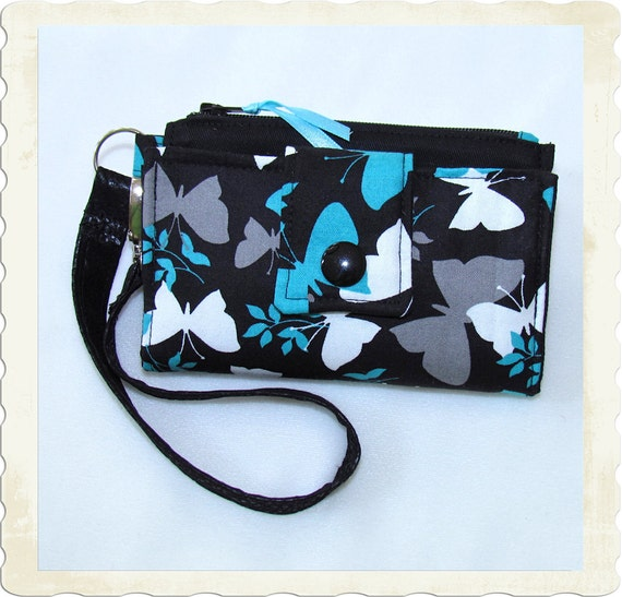 Cell Phone Wallet - Teal Gray and White Butterflys on Black - Fits iPhone 3 and 4 - Droid 1 and 2 - and More