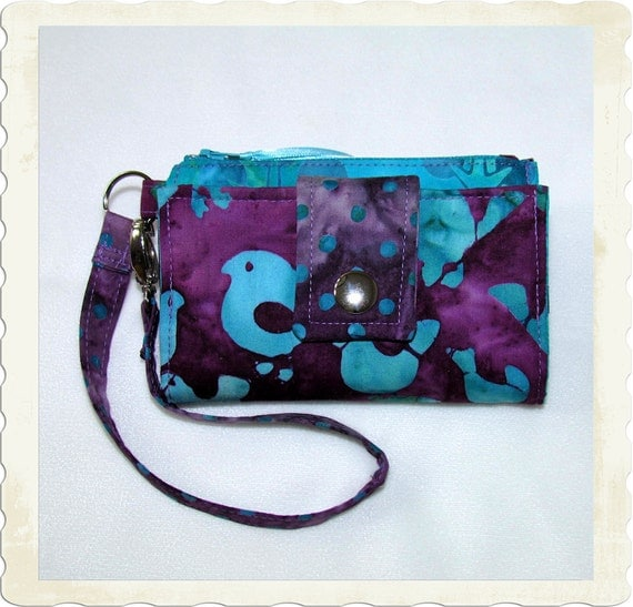 Cell Phone Case Wallet - Purple and Turquoise Birds Trees and Dots - Fits iPhone 3 and 4 - Droid 1 and 2 - and More