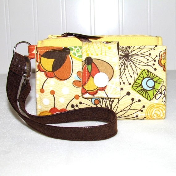 Cell Phone Wallet, iPhone Wallet, Smart Phone Wallet, Droid Wallet, Wristlet, Case - Wild Flowers on Yellow