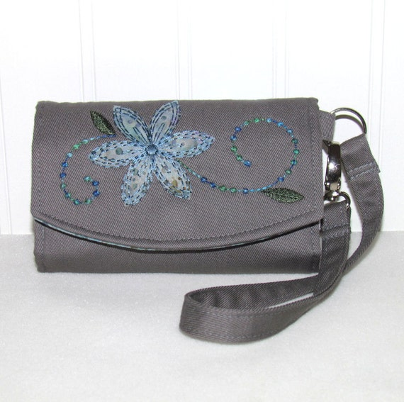 Cell Phone Wristlet Wallet - Gray with Teal Water Drops  - Fits iPhone 4 - Droid X - Incredible - Galaxy S - Fascinate -  Most Smart Phones