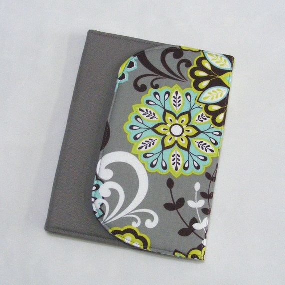 Kindle Cover, Nook Cover, Kobo Cover, Book Style, eReader Cover Case - CUSTOM SIZE - Gray Teal Lime Floral Paisley