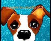 8x10 Jack russell terrier dog  Original Maggie Brudos Wright whimsical art Tangerine Studio