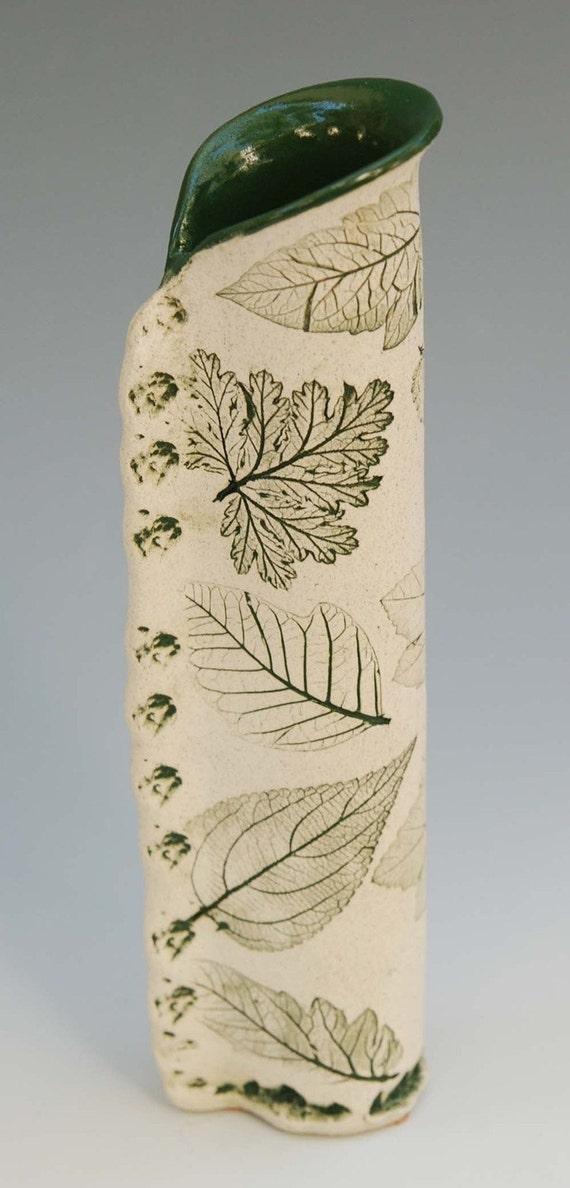 Skinny Green Tube Vase, 11 inches tall