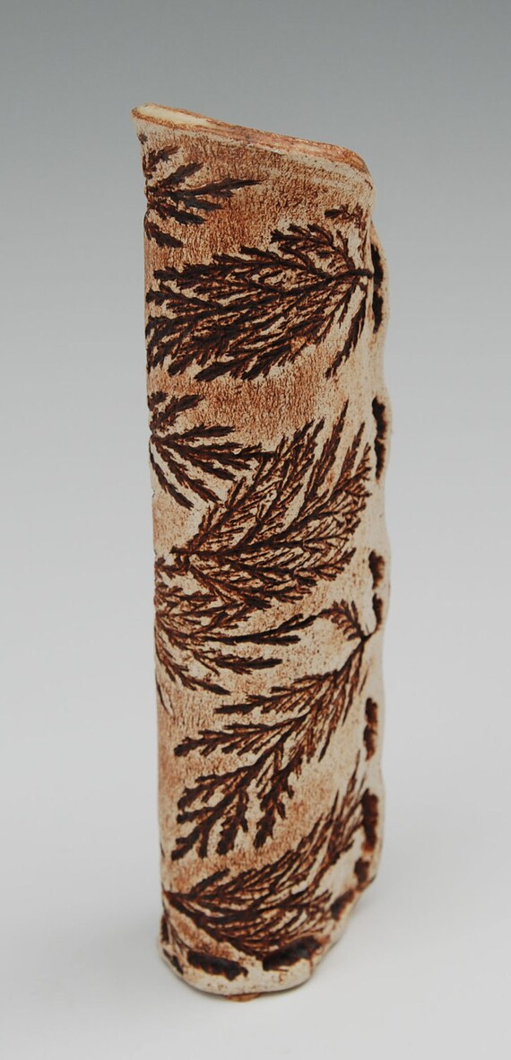 Skinny Brown Cedar Tube Vase, 8 inches tall