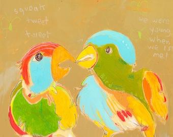 Birds Two Canvas Print by Jennifer Mercede 14X14