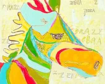 Shadow Z Zebra Canvas Print by Jennifer Mercede  14X14
