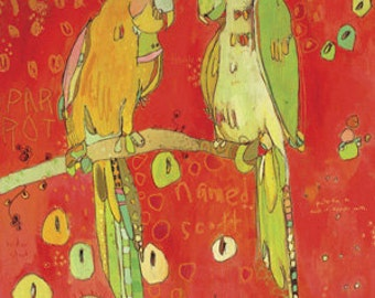 Tic N Talk Parrots Canvas Print by Jennifer Mercede  14X14
