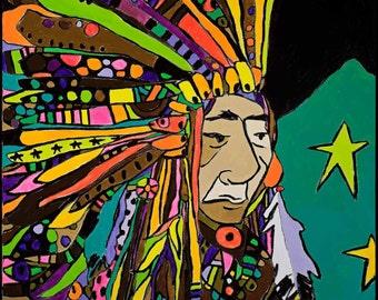 Neon Native  Paper Print by Jennifer Mercede 14X11