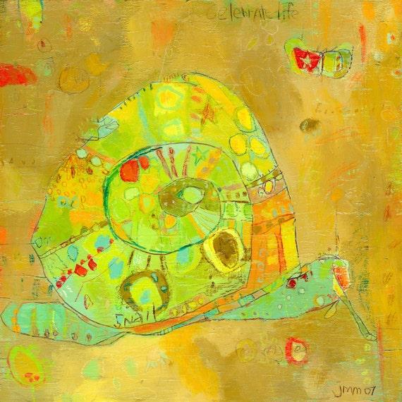 Celebrate Life Snail Canvas Print by Jennifer Mercede 14X14