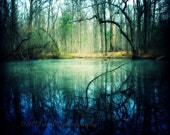 Forest Photo, Landscape Photograph, Nature Picture, Trees, Pond, Water, Blue, Green, Yellow, 5x5 inch Print-The Enchantment of Everaft