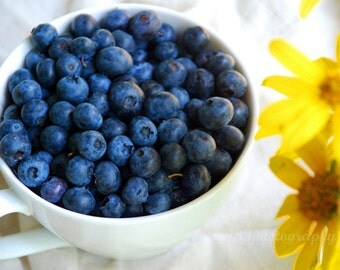 Kitchen Art, Still Life Photography, Food Photo, Blueberries, Yellow, White, Blue, Berries, Breakfast- 5x7 inch Print  Good Morning Sunshin