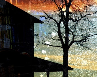 Abstract Winter Photograph, Architecture Picture, Landscape, Silhouette, House, Orange, Blue, Black - 8x10 Print- Winter Electric