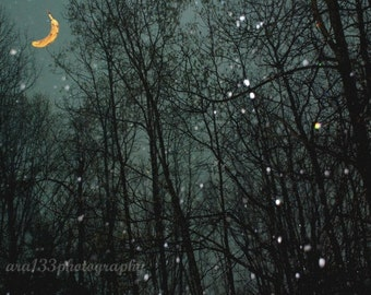 Moon Stars Surreal Photography Night Sky Photo Nature Picture Navy Blue Winter Black Snow Landscape - 5x7 Inch Print-Banana Moon
