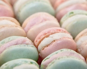 Food Photography French Macaron Parisian Pastels Spring Pale Pink Mint Green Valentine Photo Still Life 5x5 Inch Fine Art Photography Print