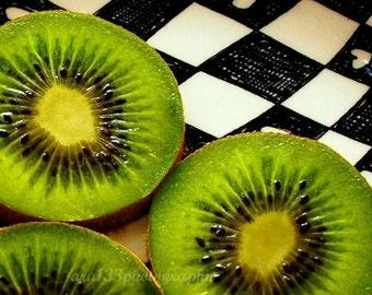 Still Life Photograph, Kitchen Picture, Food Photo, Fruit, Green, White, Black, Yellow - 5x7 inch Print -Kiwi Love