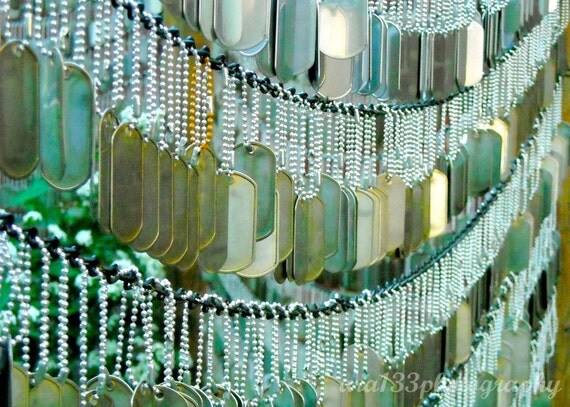 Military Dog Tags Art, Mint Green, Fine Art Photography, Patriotic, Wall Decor, Picture, Military Photo, Boston- 5x7 inch Print-Away