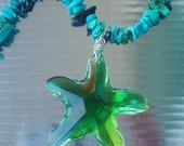 Turquoise chips necklace with AB finishing glass pendants set (star fish and sea shell)