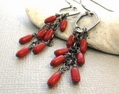 THAI - Red coral sterling silver earrings