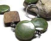 Green bracelet green jade wood bracelet, Haven