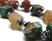Chunky bracelet green rust artisan jewelry, Awake