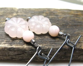 Floral pink earrings, light pink vintage beads, botanical earrings, gift for gardener, blush pink drops, pink opal dangles, garden jewelry