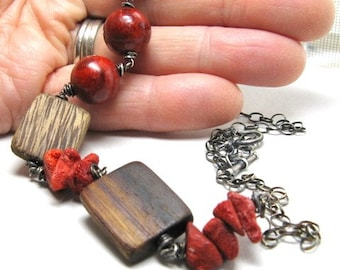 Statement necklace, bold jewelry, chunky necklace, red sponge coral, polished wood, summer jewelry, beach necklace, resort wear,