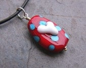 SALE!!!  50% OFF!!!  Be Mine - Girls Lampwork Glass and Leather Necklace