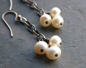 SALE!!! 50% OFF!!!  In The Clouds - Sterling Silver and Freshwater Pearl Earrings