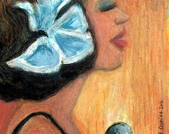 Modern Jazz Diva Original Acrylic Painting in Frame
