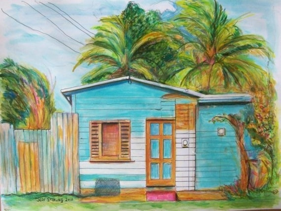 Items similar to caribbean house in miami original for House painting miami
