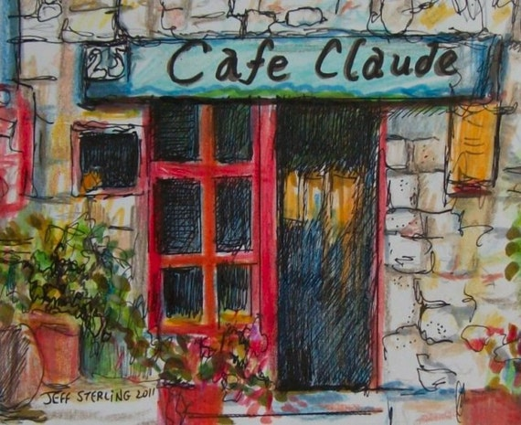Cafe Claude - Original French Scene Painting in Frame