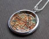 Minneapolis Minnesota - Soldered Vintage Map Necklace