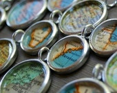 Personalized Vintage Map Necklace - You Pick City