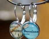 Madrid and Barcelona - Vintage Map Earrings - Makes a Great Gift