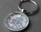 Custom Map Key Chain - You Pick Location - Personalized Vintage Map Keychain - Makes a Great Groomsmen Gift