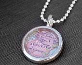 Brooklyn New York - Pendant Necklace Jewelry Vintage Map