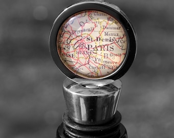 Paris France - Wine Bottle Stopper - Vintage Map - As Seen in CityScene Magazine