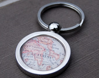 Athens Greece - Vintage Map Key Chain - Great Gift for Friends
