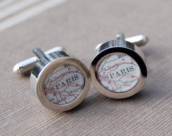 Paris France Map Cuff Links - Great Gift
