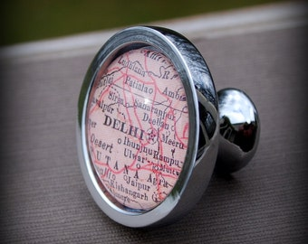 Delhi Map Drawer Pull Cabinet Knob Handle - As Seen in Time Out Delhi