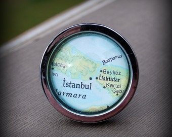 Istanbul Drawer Pull Cabinet Knob Handle - Vintage Map