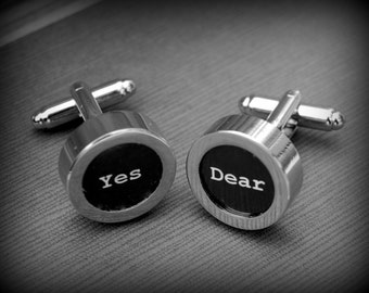 Yes Dear - Modern Cuff Links for the Groom