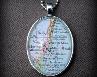 Miami Map Necklace
