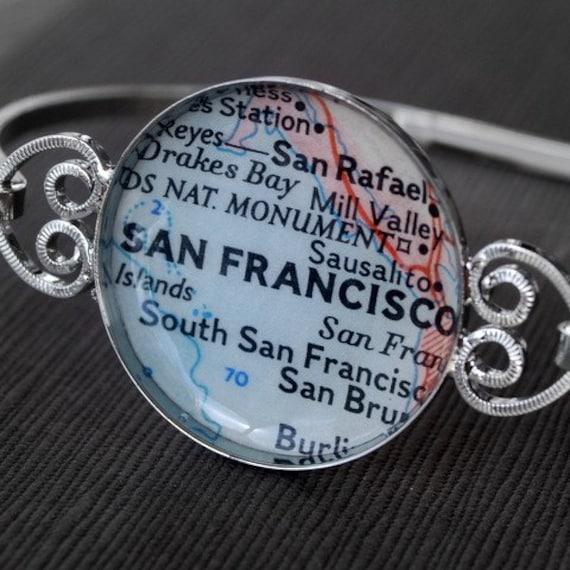 San Francisco California - Vintage Map Bracelet